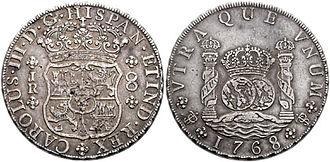 Commercial Revolution - Potosí (Bolivia) silver 8 reales, Carlos III, 1768