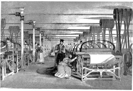 A Roberts loom in a weaving shed in 1835. Note the wrought iron shafting, fixed to the cast iron columns
