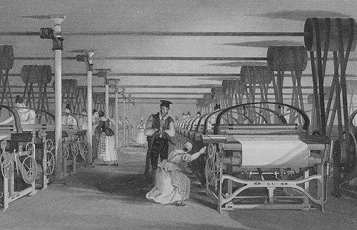 Powerloom weaving in 1835