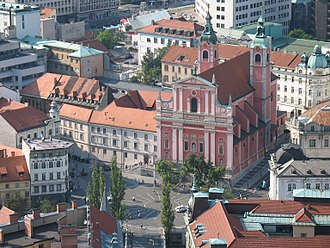 Prešeren Square - Prešeren Square viewed from Ljubljana Castle (2006)