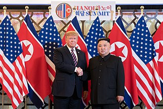 2019 North Korea–United States Hanoi Summit - President Donald Trump and Chairman Kim Jong-un shaking hands at the first night of the summit held at the Metropole Hotel in Hanoi, Vietnam, on February 27–28, 2019. This was the second meeting between the leaders of the DPRK and the United States, following the first meeting in June 2018 in Singapore.