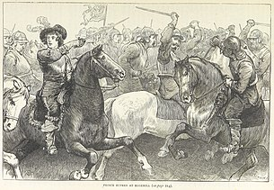 A drawing of a fight between two groups of cavalry. Prince Rupert is on the left side of the image pointing his sword.