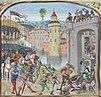Изображение завоевания Кана в «Хрониках» историка Жана Фруассара.