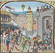 "Skildring av erövringen av Caen i ""Chroniques"" av historikern Jean Froissart"