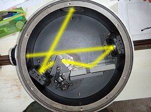 Monochromator - The internal structure of a Reflecting monochromator using a single prism.The light bright yellow line indicates the path of light.