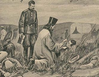 Military chaplain - An Orthodox priest administers Holy Communion to a wounded Russian soldier during the Russo-Japanese War of 1904–1905.