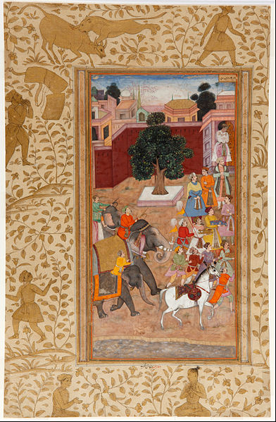 File:Procession of the Emperor of Akbar in the Akbar Namah of Abu-l Fazl - Google Art Project.jpg