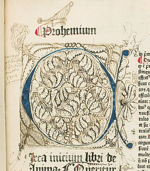 "Book illustration - Illumination with doodles and drawings, including an open-mouthed human profile, with multiple tongues sticking out. Copulata, ""De Anima"", f. 2a. HMD Collection, WZ 230 M772c 1485."