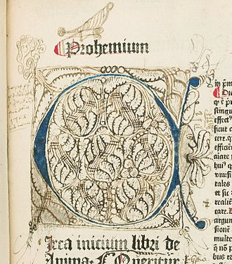 "Incunable - Illumination with doodles and drawings (marginalia), including an open-mouthed human profile, with multiple tongues sticking out. Copulata, ""De Anima"", f. 2a. HMD Collection, WZ 230 M772c 1485"