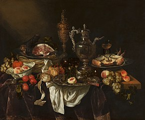 Banquet still life with a self-portrait of the painter in the silver jug