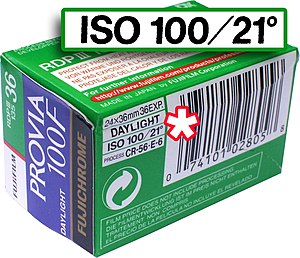"Film speed - This film container denotes its speed as ISO 100/21°, including both arithmetic (100 ASA) and logarithmic (21 DIN) components. The second is often dropped, making (e.g.) ""ISO 100"" effectively equivalent to the older ASA speed. (As is common, the ""100"" in the film name alludes to its ISO rating)."
