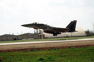 1994 Black Hawk shootdown incident - An F-15 fighter departs Incirlik Air Base during OPC