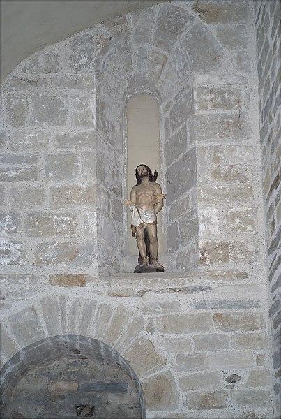 Statue Saint Sébastien, Chapelle de la Trinité, Prunet-et-Belpuig (Pyrénées-Orientales, Languedoc-Roussillon, France)