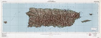 Geography of Puerto Rico - Topographic map of Puerto Rico, 1952.