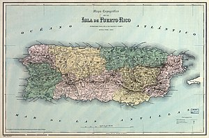 History of Puerto Rico - Map of the departments of Puerto Rico during Spanish provincial times (1886)