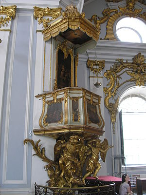St Andrew's Church, Kiev - The church's pulpit, a construction rarely witnessed in Eastern Orthodox church architecture.