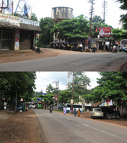 Punthalathazham Junction(in 2011) seen from East(top) and West(bottom)