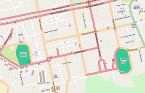 Qemal Stafa Stadium - A map of Qemal Stafa Stadium in relation to Selman Stërmasi Stadium (left)