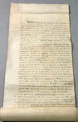 A copy of the Quebec Act passed in 1774 which addressed a number of grievances held by French Canadians and Indians, although it angered American colonists Quebec Act, 1774.jpg