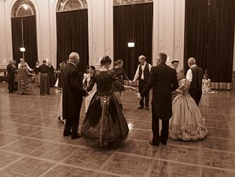 Square dance - Quadrille variation involving five couples dancing at a Colonial Ball in the Albert Hall, Canberra September 2016 (sepia)