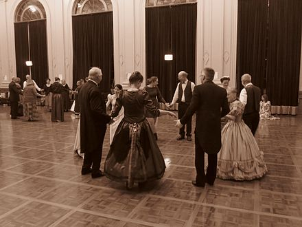 Quadrille variation involving five couples dancing at a Colonial Ball in the Albert Hall, Canberra September 2016 (sepia) Quadrille set five person set colonial ball at the Albert Hall.jpg