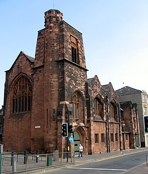 Queen's Cross Church, Glasgow - The church tower seen from the road junction.