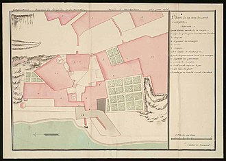 Tour Philippe-le-Bel - Plan of the tower and surrounding buildings by Quintin de Beuverd, 1787
