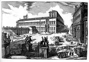 "Quirinal Hill - A mid-18th century etching of the Palazzo del Quirinale by Giovanni Battista Piranesi: The colossal Roman ""Horse Tamers"" or Dioscuri are in the foreground, but the obelisk from the Mausoleum of Augustus (erected 1781 – 1786) has not yet been set up between them."
