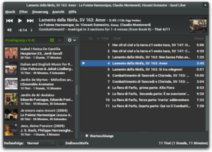 Screenshot of Quod Libet's paned main browser window (dark theme).