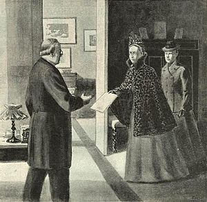 Fredrika Bremer Association - Agda Montelius and Gertrud Adelborg presents the petition of woman suffrage to prime minister Erik Gustaf Boström in 1899.