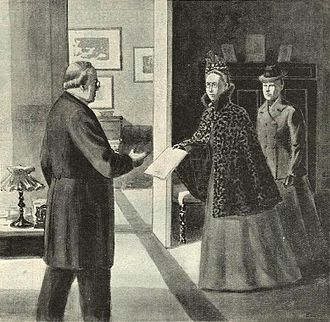 Agda Montelius - Agda Montelius and Gertrud Adelborg presents the petition of woman suffrage to prime minister Erik Gustaf Boström in 1899.