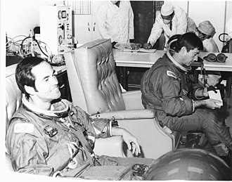 Robert Crippen - John Young and Crippen suiting up for the STS-1 mission