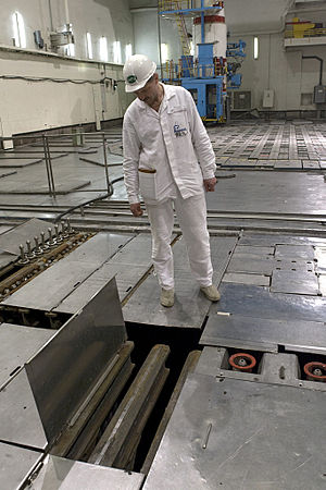 Spent fuel pool - Worker examines a pond for storing spent fuel rods at the Leningrad nuclear power plant in Sosnovy Bor.