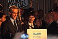 Rahm and His Son Rahm at the Podium, Emanuel Victory Party 2011 (5472237290).jpg