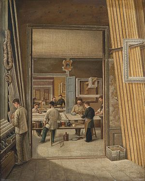 Picture frame - View of a frame-maker's workshop, oil on canvas, c 1900.