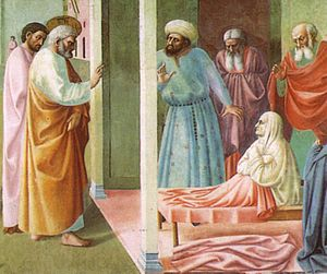 Dorcas - Section of Healing of the Cripple and Raising of Tabitha by Masolino da Panicale, 1425.