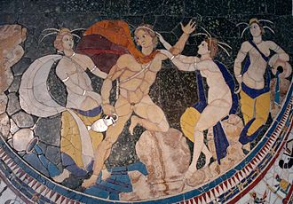 "The mythological abduction or ""rape"" of Hylas by the nymphs (opus sectile, basilica of Junius Bassus, 4th century AD) Rape Hylas Massimo.jpg"