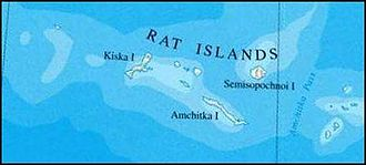 Rat Islands - Map of Rat Islands showing major islands (line between Semisopochnoi Island and Amchitka Pass is the 180th meridian).