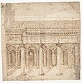 Recto- Front Elevation of a Roman Temple in Ruins (inspired by Giuliano da Sangallo); Verso- Elevation of the Nave of a Roman Basilica in Ruins (? the Basilica Giulia, inspired by Giuliano da Sangallo). MET DP160086.jpg