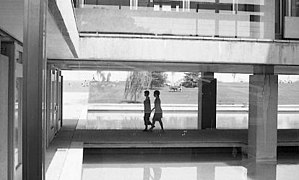 Reflecting pool and women walking at World Health Organization, Geneva, 1969.jpg