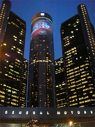 Super Bowl XL - The Renaissance Center decorated for Super Bowl XL.