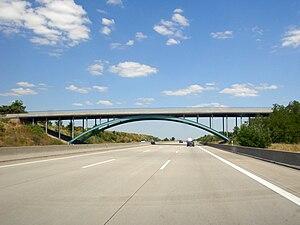 Autobahn - One of the center pier-free bridges over the former Dessauer Rennstrecke on Autobahn A9