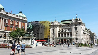 National Museum of Serbia - Main city square - Republic square, Left: National Museum of Serbia – Centre: Hotel Marriott Belgrade – Right: National Theatre.