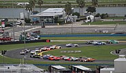 Xfinity Series cars race on the Daytona road course