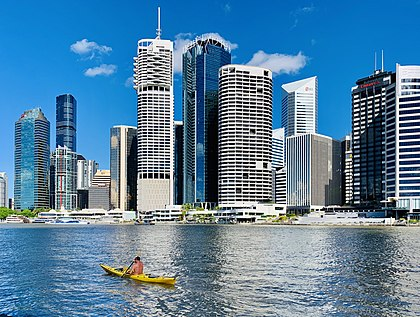 The Golden Triangle financial precinct surrounding Eagle Street Pier in the CBD River views of Brisbane CBD seen from Kangaroo Point, Queensland in April 2019, 04.jpg