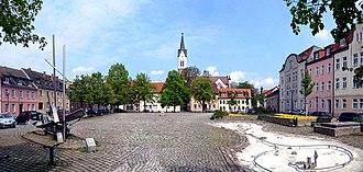Roßlau - Market Square (Markt) and Town's church