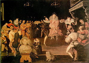 Renaissance dance - French painting of the volta, from Penhurst Place, Kent, often wrongly assumed to be of Elizabeth I.