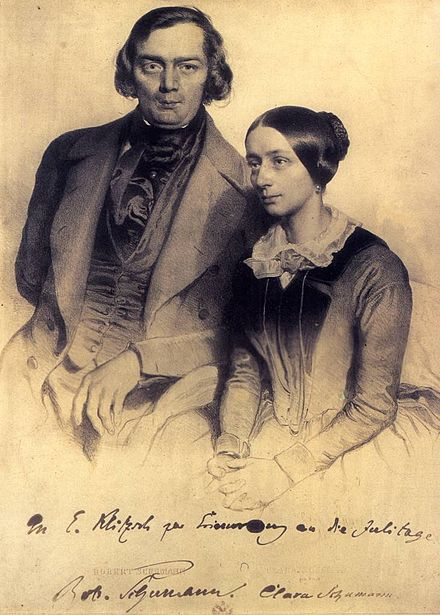 Robert and Clara Schumann in 1847, lithograph with a personal dedication Robert u Clara Schumann 1847.jpg