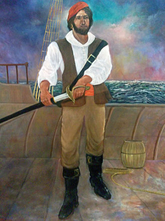 Roberto Cofresí - Modern portrayal of Cofresí, standing on the deck of a ship and preparing for battle