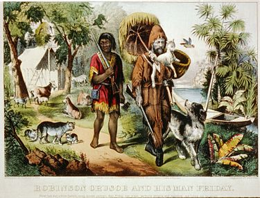 Robinson Crusoe and his man Friday - Currier & Ives c.1874